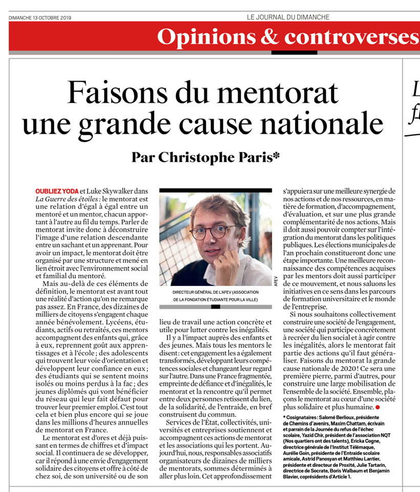 Tribune « Faisons du mentorat une grande cause nationale »